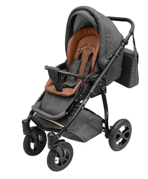 Skyline Poussette avec look sportif + accessoires & cadre en aluminium et roues en mousse bébé enfant GTr   Brune - Poussette
