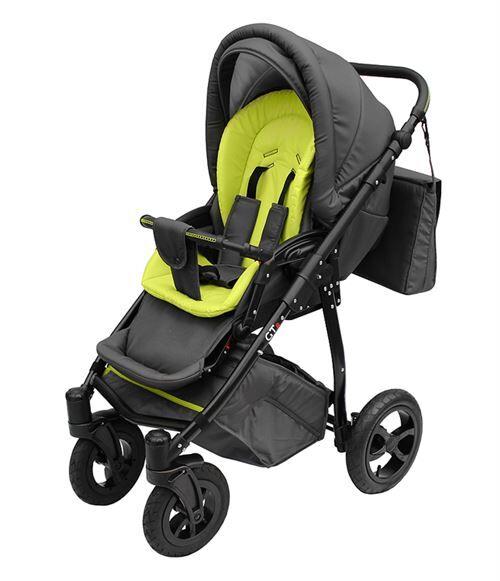 Skyline Poussette avec look sportif + accessoires & cadre en aluminium et roues en mousse bébé enfant GTr   Verte - Poussette
