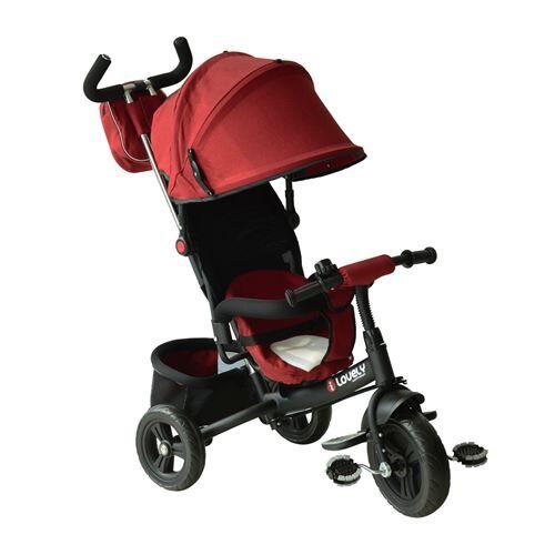 Homcom Tricycle enfants évolutif canne et pare-soleil pliable amovible sacoche et panier 96 x 54l x 101 cm acier rouge brique noir - Tricycles
