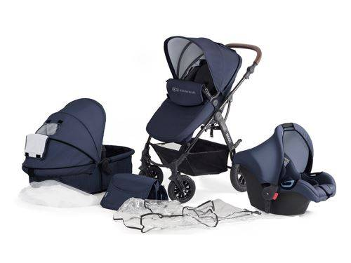 Kinderkraft Poussette / Landau 3 en 1 bébé combinée multifonctions avec accessoires Moov   bleu foncé - Poussette