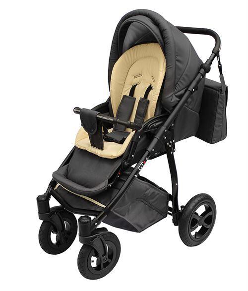 Skyline Poussette avec look sportif + accessoires & cadre en aluminium et roues en mousse bébé enfant GTr   Beige - Poussette