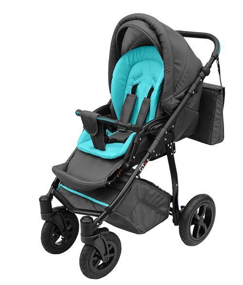 Skyline Poussette avec look sportif + accessoires & cadre en aluminium et roues en mousse bébé enfant GTr   Bleue - Poussette