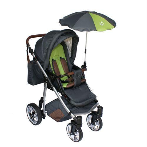 Skyline Poussette avec accessoires & cadre en aluminium et roues en mousse bébé enfant GT   Verte - Poussette
