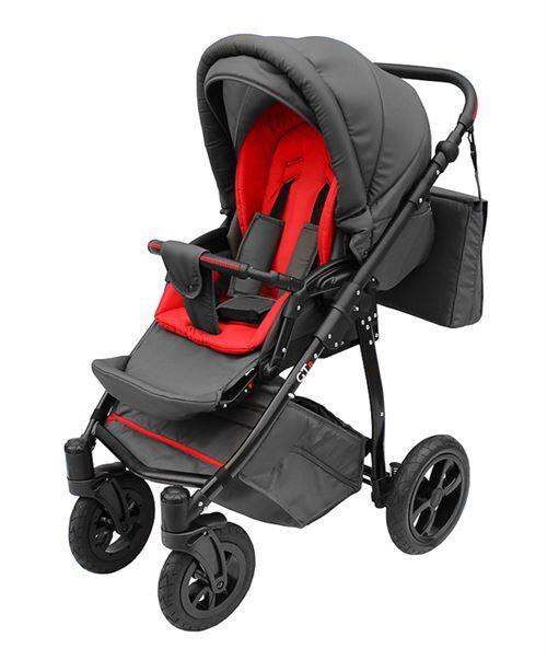 Skyline Poussette avec look sportif + accessoires & cadre en aluminium et roues gonflables bébé enfant GTr   Rouge - Poussette