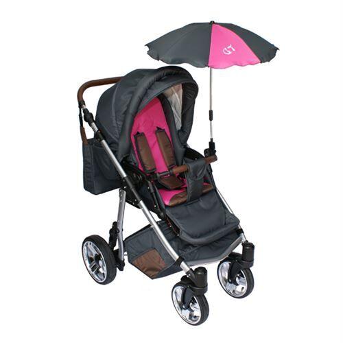 Skyline Poussette avec accessoires & cadre en aluminium et roues en mousse bébé enfant GT   Rose - Poussette