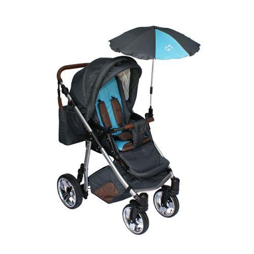 Skyline Poussette avec accessoires & cadre en aluminium et roues gonflables bébé enfant GT   Bleue - Poussette
