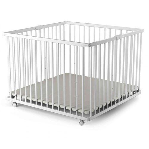 Baby Fox Parc bébé pliant en bois laqué blanc 100x100 - Parcs