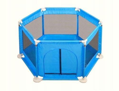 CORA   Parc Aire de jeux bébé/enfant avec 5 parois   Piscine sèche à balles   130x63x63   Hexagone   Bleu - Lit pour enfant