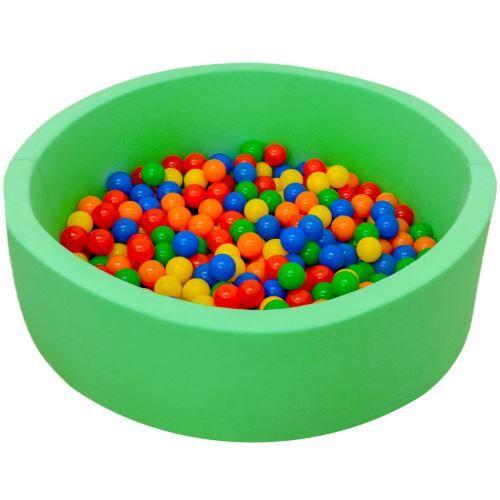 Little tom LittleTom Piscine en mousse PU vert clair 90x30 cm avec 350 Boules colorées - Coffre à jouets et rangements