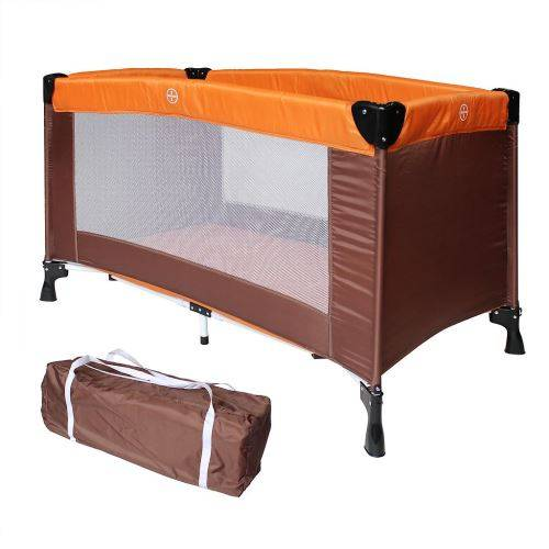 sotech lit parapluie pliable, parc de jeu pour bébé, standard ce, 125 x 65 x 76 cm, orange/marron, taille déployée: 125 x 76 x 65 cm - lits parapluie