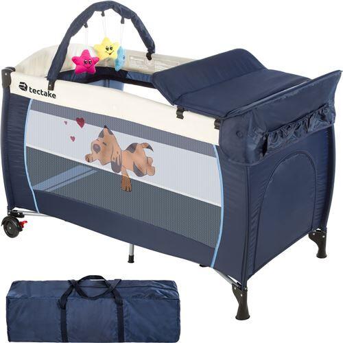 Non communiqué TECTAKE Lit Enfant Bébé Parapluie de Voyage Pliant Réglable + Accessoires 132 cm x 75 cm x 104 cm Bleu - Lits parapluie