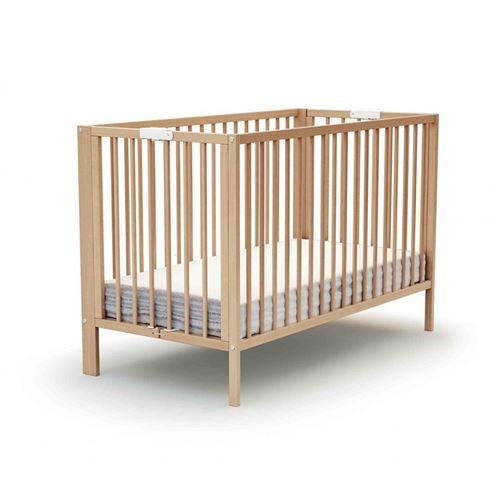 Baby Fox Lit bébé pliant à barreaux hêtre verni 60x120 - Lit pour enfant