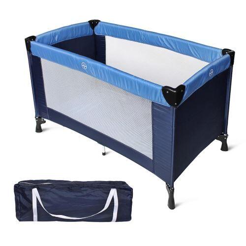 Todeco - Parc de Jeu pour Bébé, Lit Parapluie Pliable, Standard CE, 125 x 65 x 76 cm, Bleu ciel/Bleu marine, Taille déployée: 125 x 76 x 65 cm - Lits parapluie