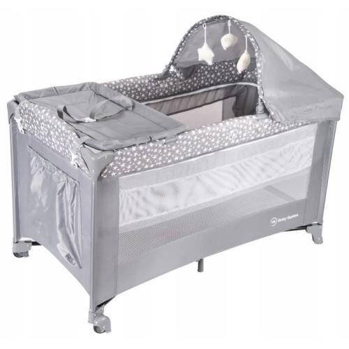non communiqué moby system lit parapluie de voyage pour bébé 2 niveaux de matelas (haut 0-6 mois, bas 6-36 mois), pliable, sac de transport, gris - lits parapluie