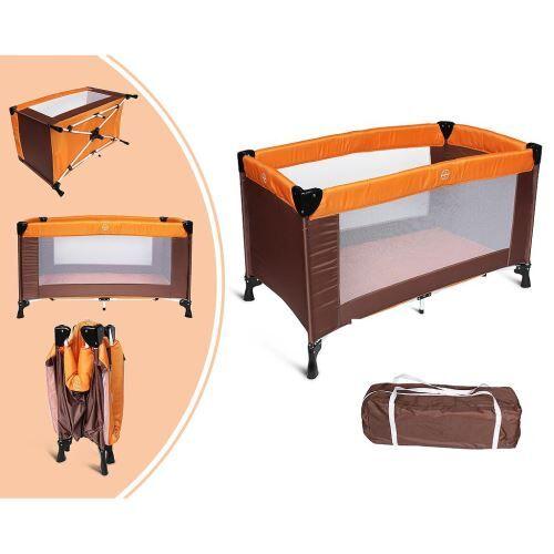 leogreen - parc de jeu pour bébé, lit parapluie pliable, standard ce, 125 x 65 x 76 cm, orange/marron, taille déployée: 125 x 76 x 65 cm - lits parapluie