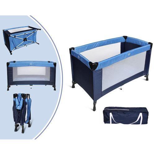 leogreen - parc de jeu pour bébé, lit parapluie pliable, standard ce, 125 x 65 x 76 cm, bleu ciel/bleu marine, taille déployée: 125 x 76 x 65 cm - lits parapluie