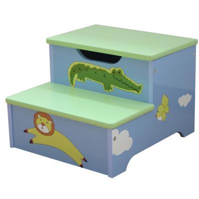PEGANE Escabeau enfant avec rangement en bois motifs animaux - Dim : H 25.5 x L 35 x 32 cm -PEGANE- - Coffre à jouets et rangements