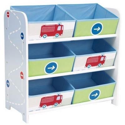 PEGANE Meuble de rangement enfant avec 6 bacs, multicolore motif route - Dim : H 60 x L 63,5 x P 30 cm -PEGANE- - Coffre à jouets et rangements
