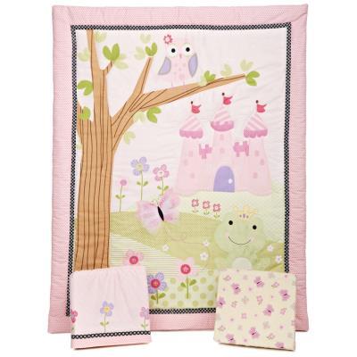 PEGANE Ensemble de literie pour enfants, motifs royaume magic (Lot de 3 pièces: couette, lit bébé jupe et drap housse), 41.9 x 41.9 x 12.7 cm -PEGANE- - Accessoires sommeil