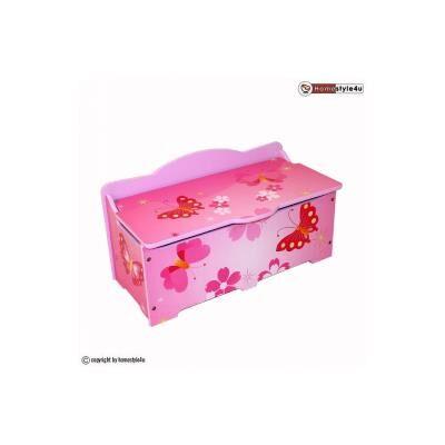 HomeStyle4U Coffre à jouets en bois papillon - Table et chaise