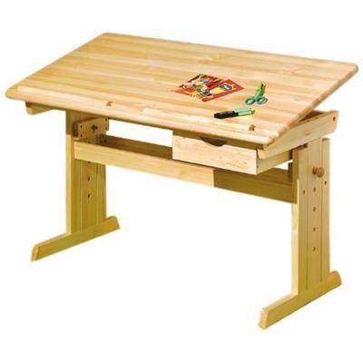 PEGANE Bureau pour enfant en pin massif vernis Naturel, Dim : 55 x 109 x 96 cm -PEGANE- - Bureaux enfant et accessoires