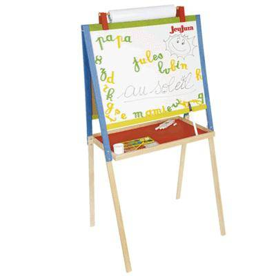 JEUJURA Tableau dessin en bois avec accessoires - Tableau et pupitre enfant