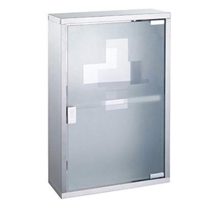 Msv 140490 armoire pharmacie verre trempé/acier inox brossé 30 x 12 x 45 cm - Armoire bébé