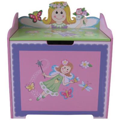 PEGANE Coffre à jouets en bois motif Fée, Dim : L56 x H65 x P36 -PEGANE- - Coffre à jouets et rangements