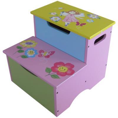 PEGANE Escabeau en Bois motifs fée et fleurs, Dim : 31 x 34 x 34 cm -PEGANE- - Coffre à jouets et rangements