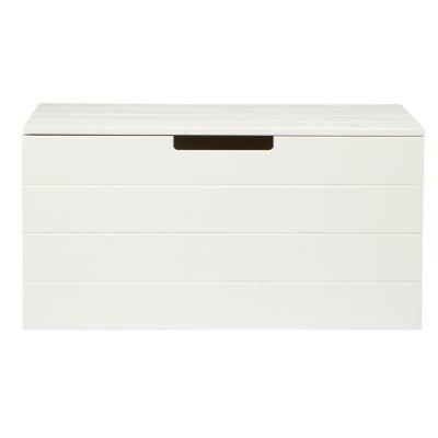 PEGANE Coffre a jouet pin massif brossé blanche, H42 x L80 x P40 cm - PEGANE - - Coffre à jouets et rangements