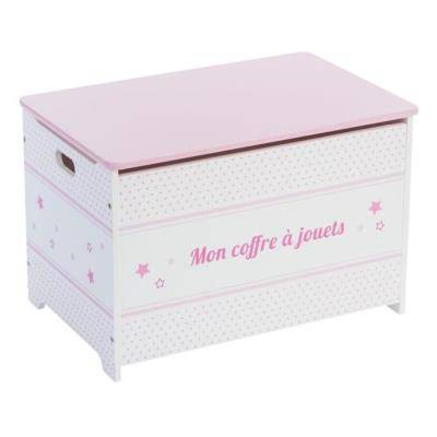 PEGANE Coffre à jouets en bois pour enfant coloris rose, Long 58 x Larg 38 x H 38 cm -PEGANE- - Coffre à jouets et rangements