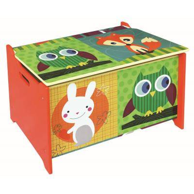 PEGANE Coffre à jouet Motif Forêt, L 60 x P 40 x H 37 cm -PEGANE- - Coffre à jouets et rangements