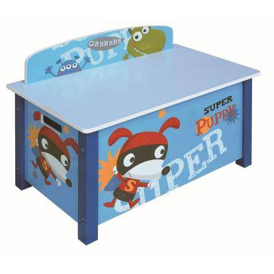 PEGANE Coffre à jouet bleu Motif Super heros, L 68 x P 39 x H 49.5 cm -PEGANE- - Coffre à jouets et rangements