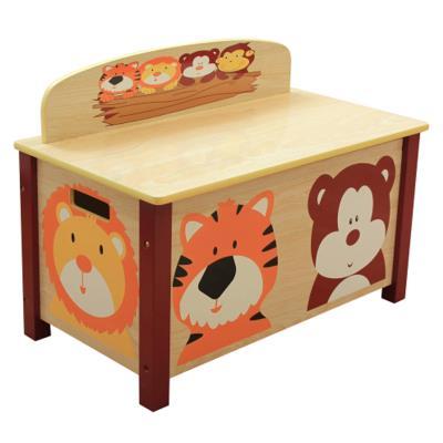 PEGANE Coffre à Jouets enfant en bois motif animaux - Dim : H 49.5 x L 68 x P 39 cm -PEGANE- - Coffre à jouets et rangements