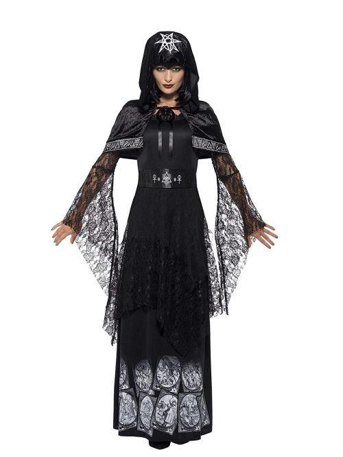 Smiffy's Smiffys Costume maîtresse de la magie noire, Noir, avec robe, ceinture et cape - Déguisement adulte