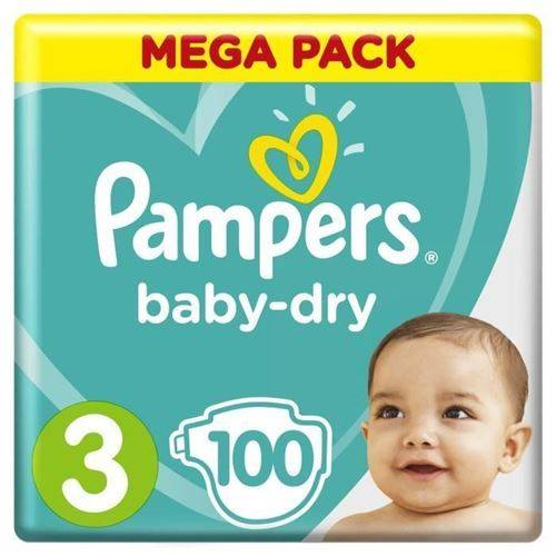 Pampers Baby-dry Taille 3, 6-10 Kg - 100 Couches -mega Pack - Couche