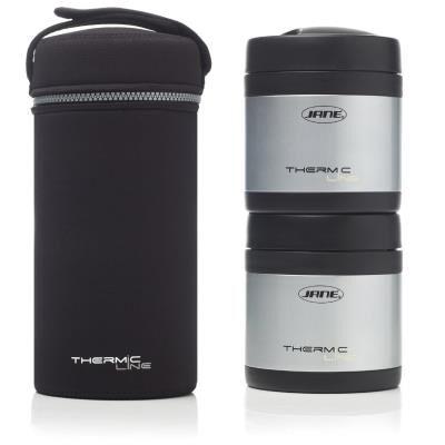 Jane 2 boites isotherme pour aliments solides noir acier thermic line - Boîtes de conservation