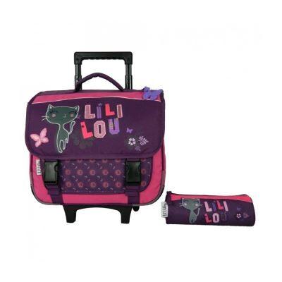 lililou cartable à roulettes 38cm + trousse lililou chat prune - cartables scolaires