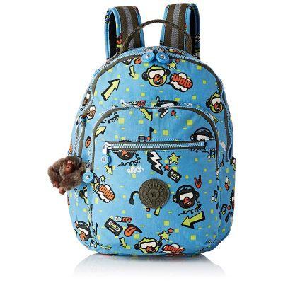 Kipling Seoul GO S Sac à Dos Enfants, 35 cm, 14 liters, Multicolore (Monkey Rock) - Cartable, sac à dos primaire