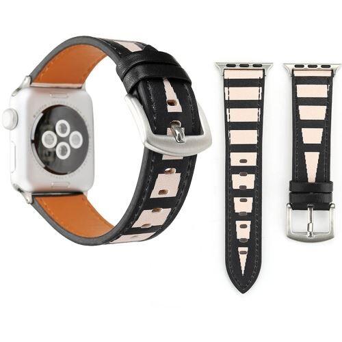 Alsatek Apple Watch Series 3 & 2 & 1 38mm Bracelet Cuir PU ligne noir blanc ALS63013 - Montre connectée