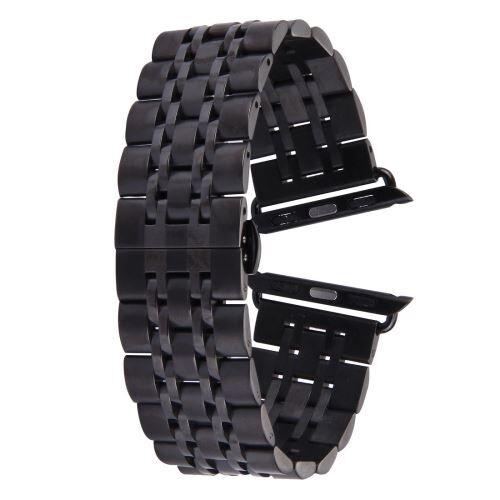 ALSATEK Apple Watch 38mm Bracelet en acier inoxydable 7 lignes Noir ALS62682 - Montre connectée
