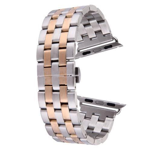 ALSATEK Apple Watch 42mm Bracelet en acier inoxydable 5 lignes Argenté + Rose doré ALS62693 - Montre connectée