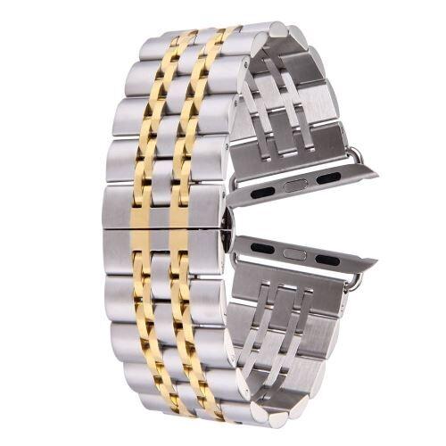 ALSATEK Apple Watch 42mm Bracelet en acier inoxydable 7 lignes Argenté + doré ALS62698 - Montre connectée