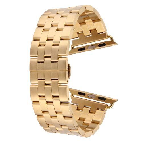 ALSATEK Apple Watch 42mm Bracelet en acier inoxydable 5 lignes Doré ALS62689 - Montre connectée