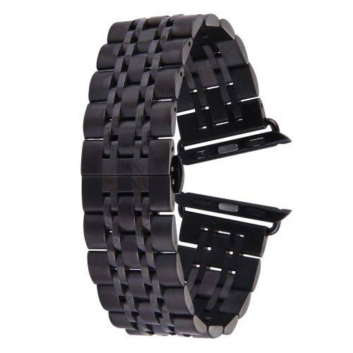 ALSATEK Apple Watch 42mm Bracelet en acier inoxydable 7 lignes Noir ALS62694 - Montre connectée