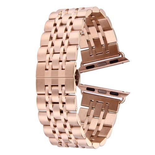 ALSATEK Apple Watch 42mm Bracelet en acier inoxydable 7 lignes Rose doré ALS62696 - Montre connectée