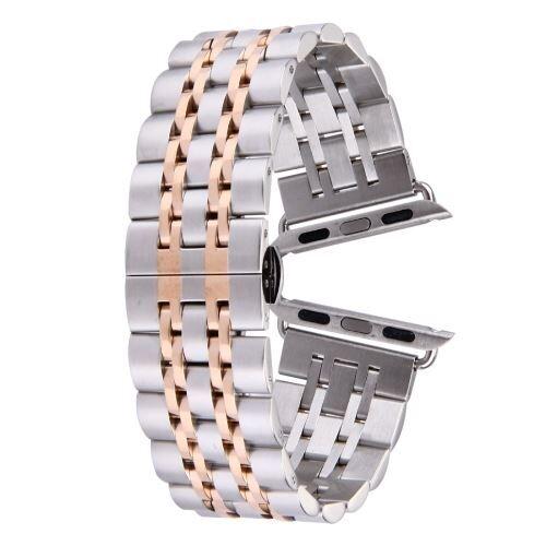 ALSATEK Apple Watch 42mm Bracelet en acier inoxydable 7 lignes Argenté + Rose doré ALS62699 - Montre connectée