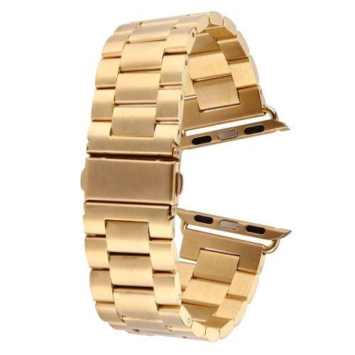 ALSATEK Apple Watch 38mm Bracelet en acier inoxydable 3 Lignes doré ALS62663 - Montre connectée