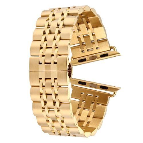 ALSATEK Apple Watch 38mm Bracelet en acier inoxydable 7 lignes Doré ALS62683 - Montre connectée