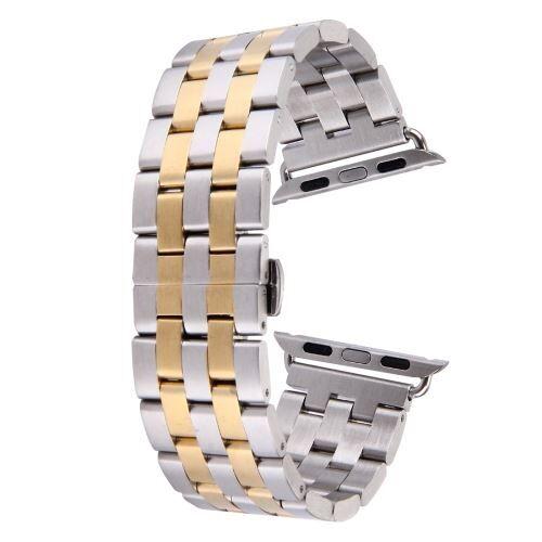 ALSATEK Apple Watch 42mm Bracelet en acier inoxydable 5 lignes Argenté + doré ALS62692 - Montre connectée